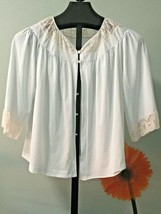 Vintage Light Blue Bed Jacket Lace Collar and Sleeves Smock Small - $16.82