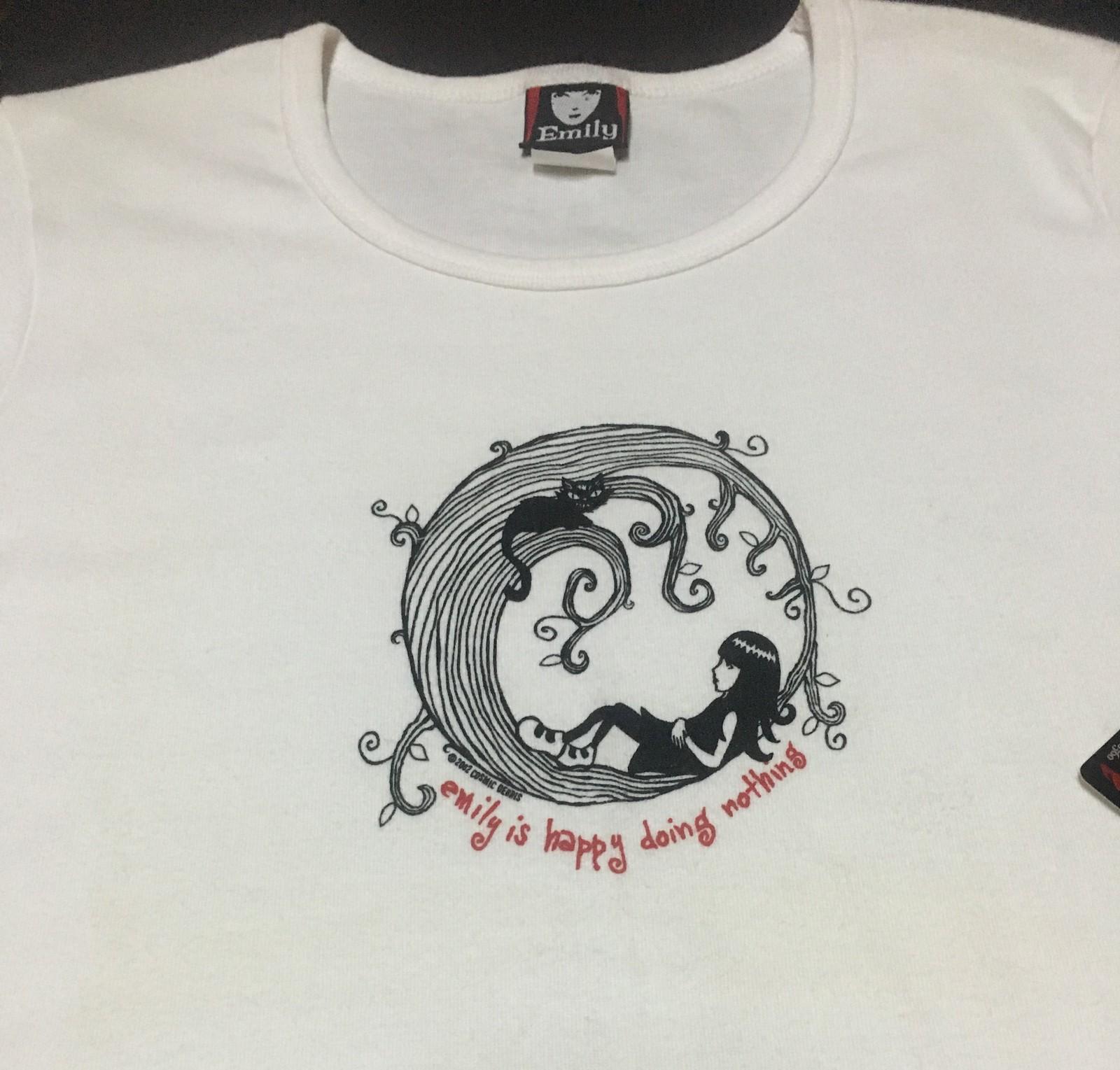 Emily The Strange Cat Kitty HAPPY DOING NOTHING T-Shirt Top Sz Juniors L White