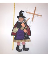 """Witch Marionette by Midwest String Puppet Wood Fabric 22"""" Tall  with Broom - $55.00"""
