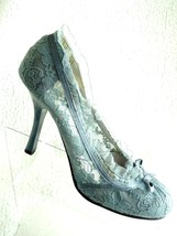 Wild Diva by Lounge Grey/Blue Lace High Heels 8 1/2 Shoes - $18.01