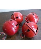 Set of 4 red Christmas jingle sleigh bells.One older than the others - $14.99