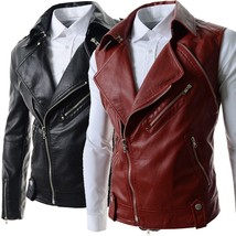 2018 new personality split men's short leather collar high quality men r... - $51.30
