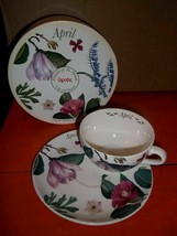Spode April Flower of the Month over sized Cup and Saucer Set with Gift Box - $19.80