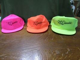 3 McDonald's Crew Caps Hats-Neon Pink-Neon Orange-Neon Green-Adjustable-NWT - $10.95