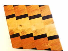 Diamond shape footed end grain cutting board, cherry, maple and walnut - $30.00