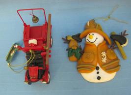 Snowman Fireman Fire Fighter & Firetruck Kurt Adler Christmas Red Ornaments  - $17.25
