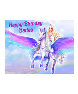 Barbie and Pegasus edible cake image party cake decoration topper - $7.80