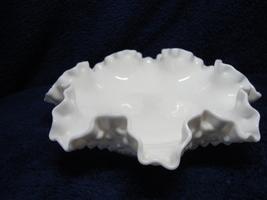 Fenton Glass white milk glass ruffled rim hob nail bon-bon candy dish. - $15.00