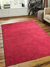 Rugsotic Carpets Hand Knotted Gabbeh Silk 5'x8' Area Rug Solid Red LS0101 - $168.34