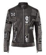 Handmade Men's Black Studded Embroidered Patches Leather jacket - $249.99