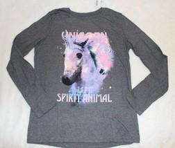 Childrens Place Girls Top Size 7 8  14 Gray Unicorn Long Sleeve Shirt School New - $16.99