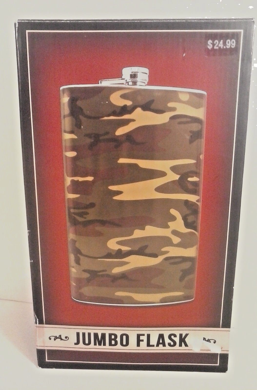 NEW IN BOX LARGE JUMBO FLASK CAMO STAINLESS STEEL 1.8 L. / 60 OZ.
