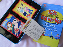 Kids Battle The Grown Ups Card Game in Storage Tin, new never played - $7.50