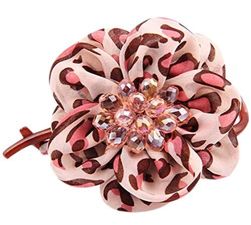 [Pink Leopard Flower] Silk Yarn Hair Barrette Twist&Go Hair Clip Head Wear