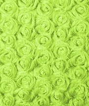 Lime Green Minky Rose Swirl Fabric - by the Yard by Online Fabric Store - $15.56