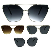 Womens Gothic Flat Panel Oversize Metal Rim Cat Eye Sunglasses - $12.95