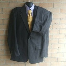 Mens 42R Evan Picone 2 Piece  Grey Check 100% Wool Suit pants 34x32 - $46.41