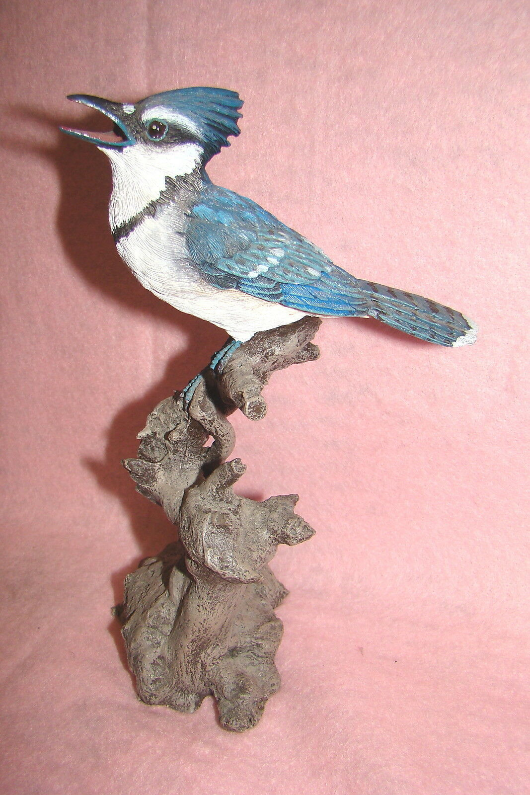 Beautiful Blue Jay Perched on a Tree Branch, Collectible Figurine