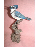 Beautiful Blue Jay Perched on a Tree Branch, Collectible Figurine - $27.99