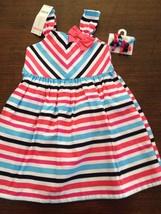 NWT Gymboree Girls Mix 'n Match Striped Sun Dress w/Hair Clips Size 2T - $17.95