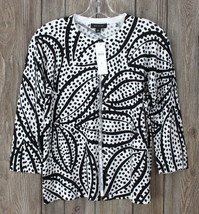 New Ann Taylor Cardigan Sweater L size Black White Stretch Womens Career... - $33.17