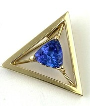 Vintage ALOPA Gold Triangular Pin with Tanzanite Gemstone - $94.99