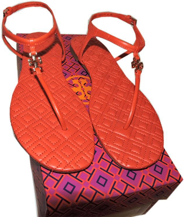 0c3de773aa5a8 Tory Burch Marion Quilted Sandal Poppy Red Leather Thongs Flip Flop 10 Slide
