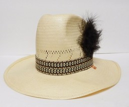 Levi Strauss Levi's Straw Hat Western Cowboy Band Feather USA Beige Size... - $59.95