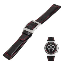 Black noir red stitches leather Strap fits Swatch fits YOS 17mm steel clasp - $26.67