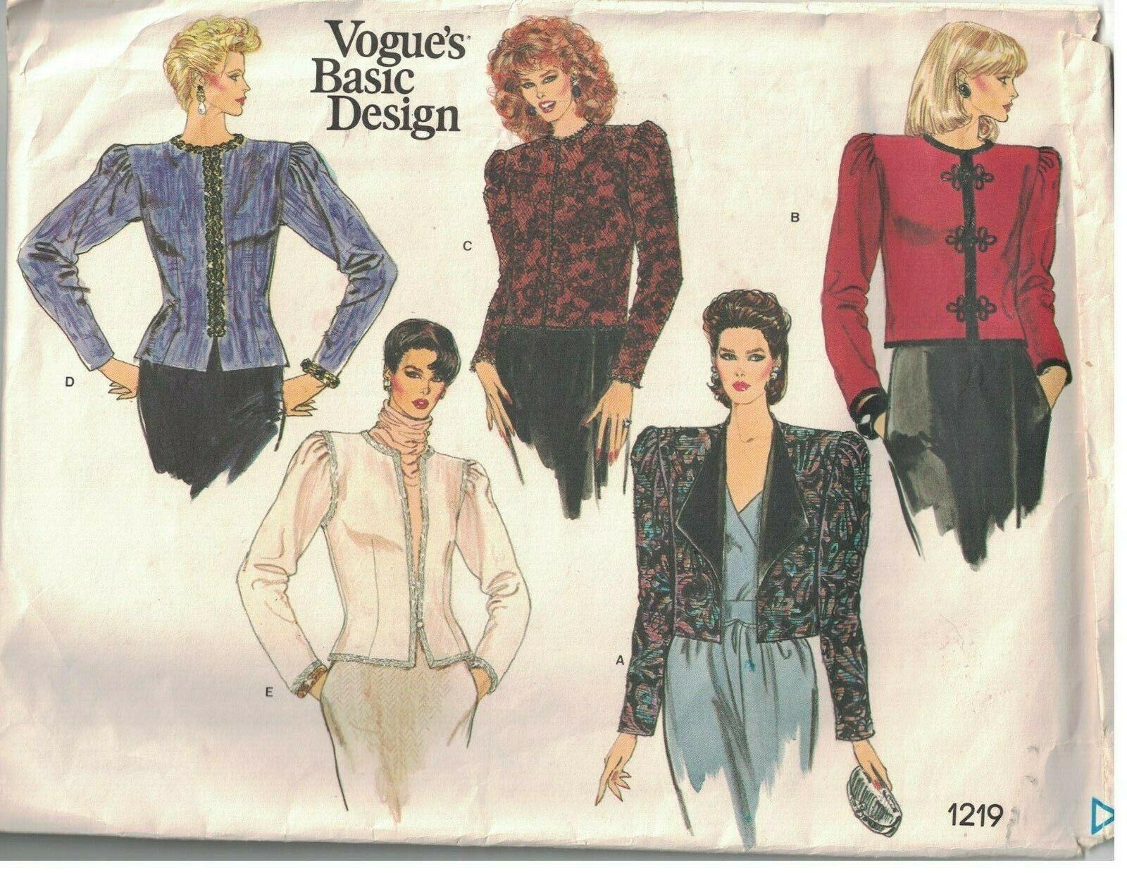 1219 Vogue Nähen Muster Misses Jacke Basic Design 1980s 12 Elegant Karriere Oop