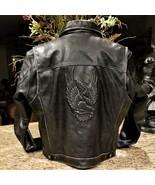 Mens Vintage HARLEY DAVIDSON USA Embossed Eagle SNAP UP Leather Jacket XL - $495.00