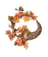 "Northlight 20"" Autumn Harvest Artificial Pinecone Berry Leaves Cornucopi... - £23.17 GBP"