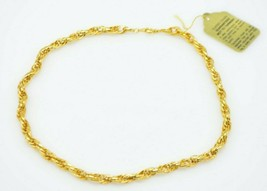 """Classic Rope Chain Gold Tone Mid Century New With Tags Tarnish Free 15"""" - $19.79"""