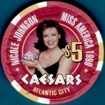 $5 Casino Chip, Caesars, Atlantic City, NJ. Miss America 1999. K89. - $6.50