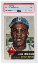 Jackie Robinson Brooklyn Dodgers 1953 Topps #1 Card PR-1 Slabbed PSA - $223.05