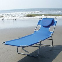 Blue Chaise Lounge Beach Chair with Rustproof Steel Frame - $99.31