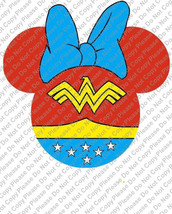 Wonder Woman Minnie Mouse Head Disney Iron On Transfer Instant Download ... - $3.95