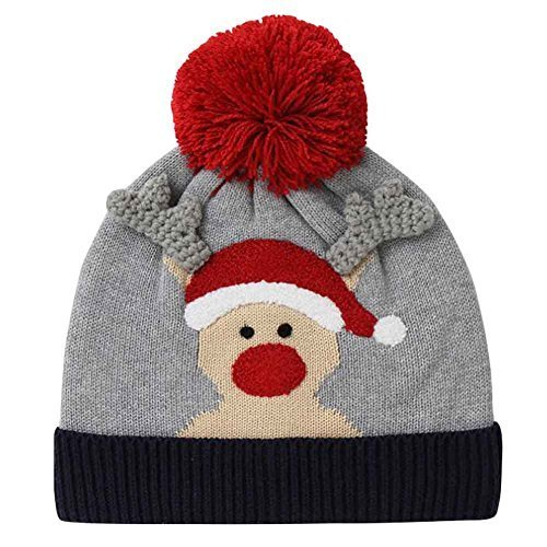 Winter Cute Elk Knitted Hat Christmas Hat Cotton Beanie for Kids, 50-54 cm