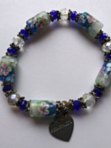Jewelry-Glass Crystal Bead Bracelet with Silver Charm Heart Serenity - $15.00