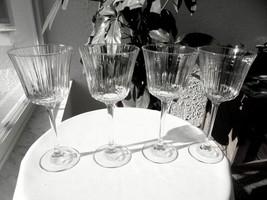 "Set of 4 Optic Bowl Tall Stem Wine Goblets 8 1/8"" Tall - $44.54"