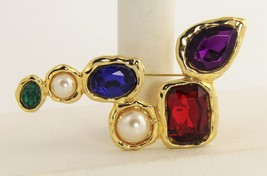 VINTAGE Jewelry 1980's BIG GEM MODERNIST BROOCH RHINESTONES & IMITATION ... - $30.00