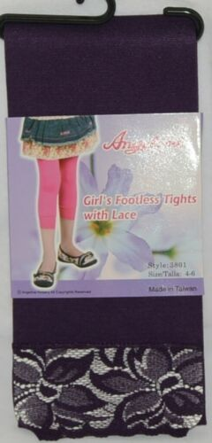 Angelina Girls Footless Tights Lace Cuff Size Four Six Plum