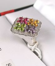 Size 8 Sterling Silver Multi Flower Cubic Zirconia Cluster Ring New w Tags image 3