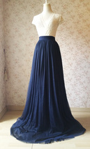Navy Extra Long Tulle Skirt Wedding Full Maxi Wedding Bridesmaid Skirt Plus Size image 2