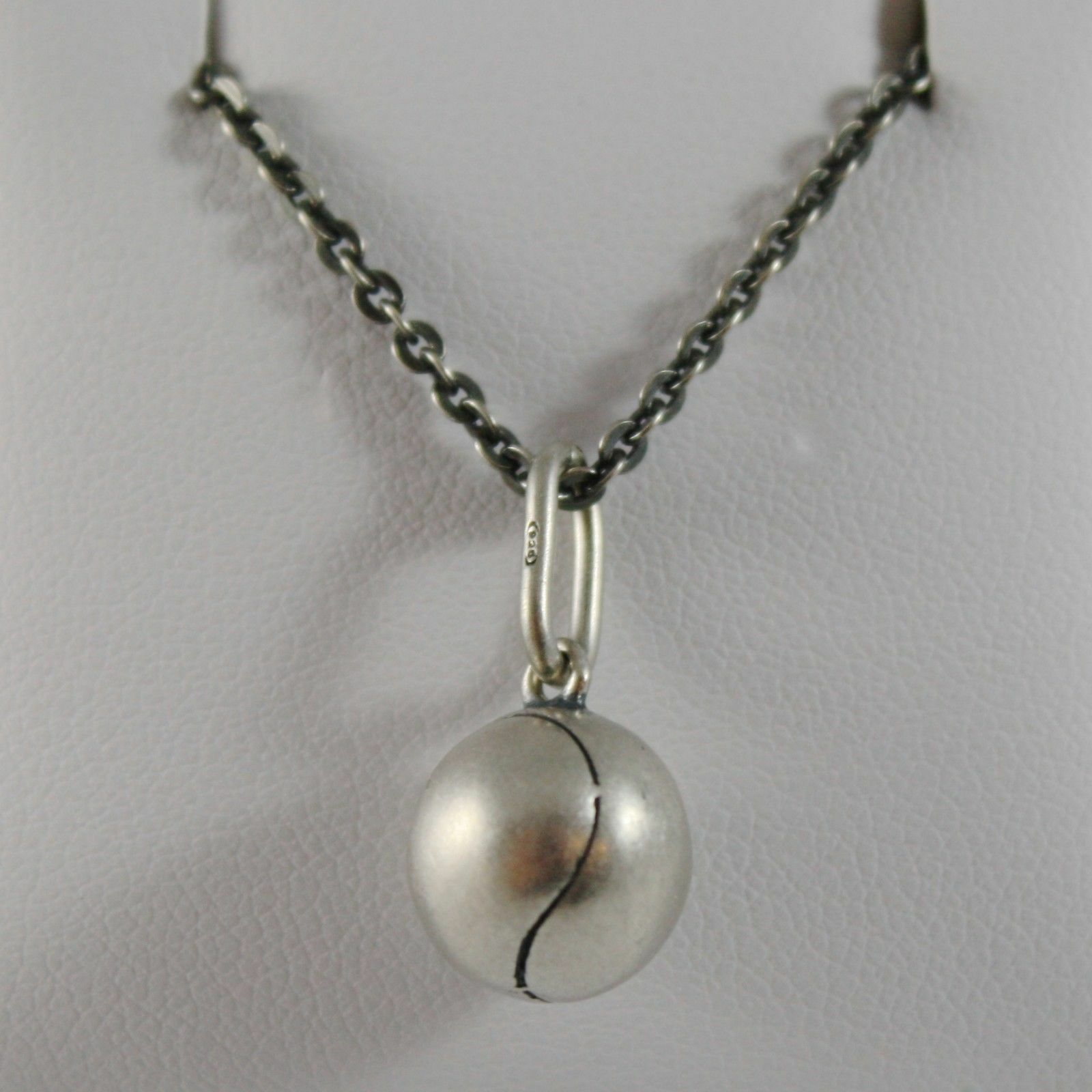 925 Sterling Silver Necklace Burnished Pendant Ball Tennis Made in Italy
