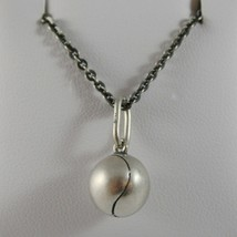 925 Sterling Silver Necklace Burnished Pendant Ball Tennis Made in Italy image 1