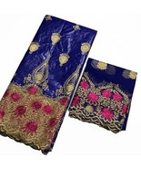 Blue French Lace Fabric Bazin Brode Getzner African Cotton Quality Tulle... - $89.39