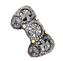14k Gold Pave Diamond 925 Sterling Silver Armor Knuckle Ring Vintage Ins... - $523.32