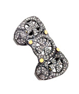 14k Gold Pave Diamond 925 Sterling Silver Armor Knuckle Ring Vintage Ins... - $523.32
