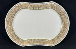 "Retired Mikasa Lacerna Large Oval 14"" Platter Bone China Gold Silver Green  - $34.60"